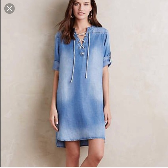 fbdfaaac047d9 Anthropologie Dresses | Cloth Stone Xander Chambray Lace Up Dress ...
